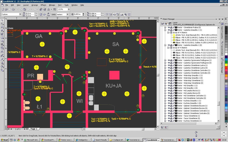 אובייקטי ציורבשכבות נפרדות הקשורים לאירועי מערכת eHouse, פלטי מדינה, קלט, מדידת תשומות.